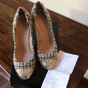 Tweed and Glitter Pumps